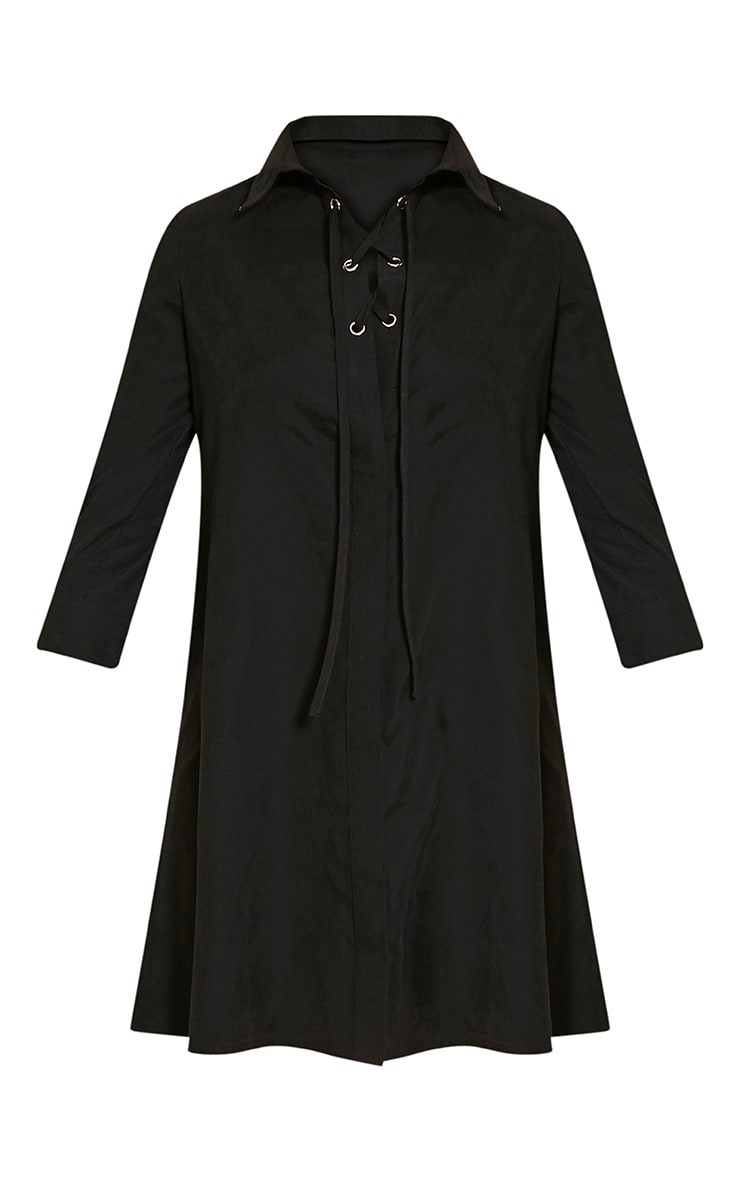 Perrie Black Lace Up Soft Feel Shirt Dress 3