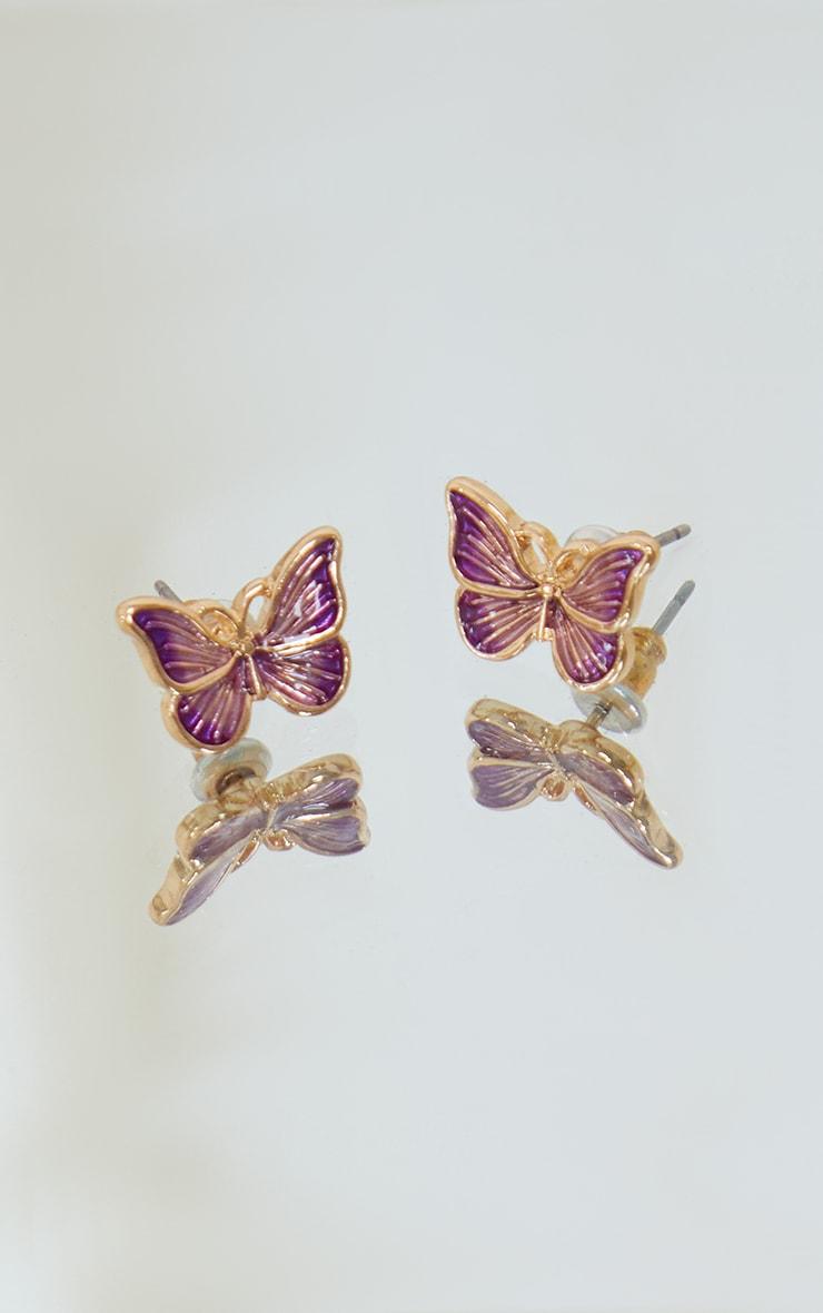 Lilac Butterfly Stud Earrings 3