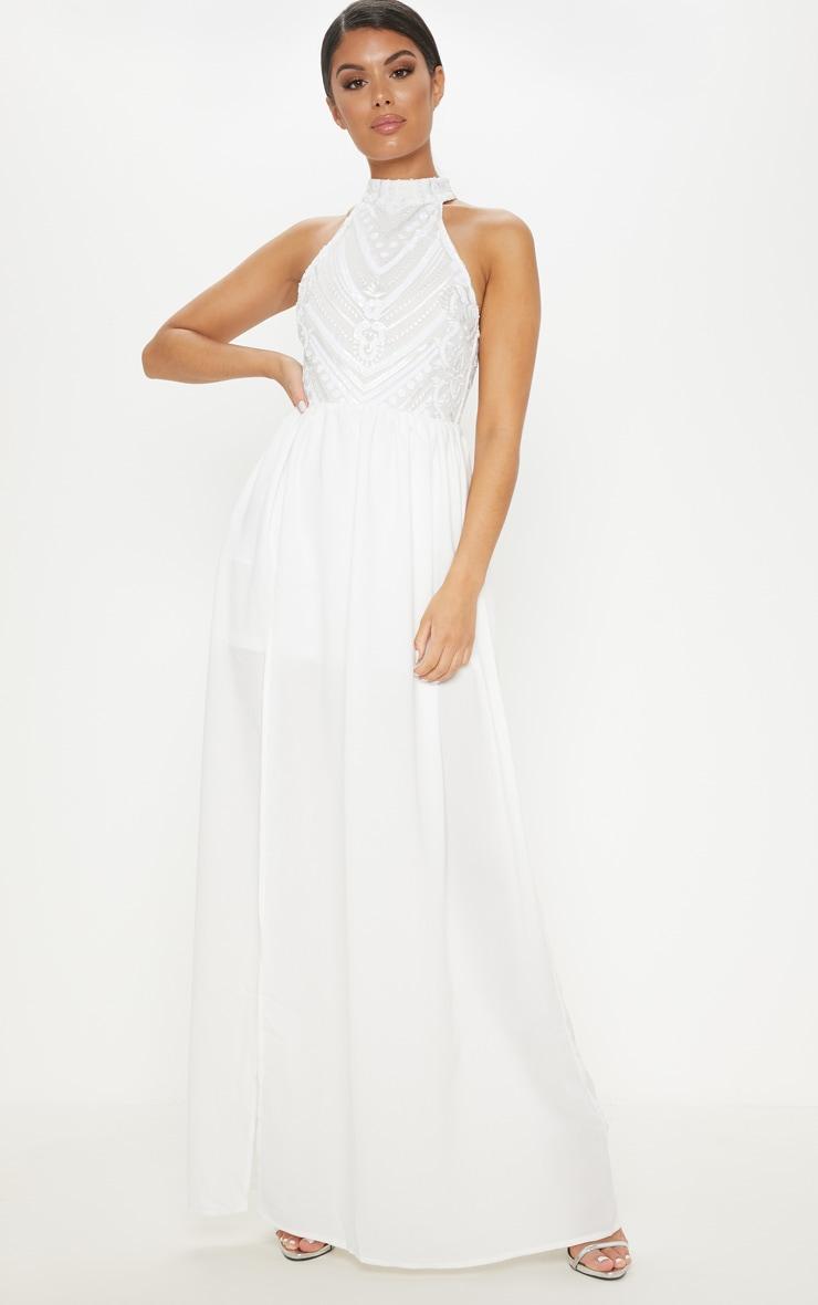 6dc488af51 White Sequin Top High Neck Maxi Dress image 1