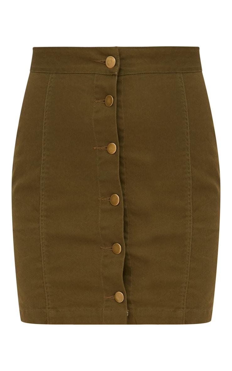 Khaki Denim Button Down Mini Skirt 3