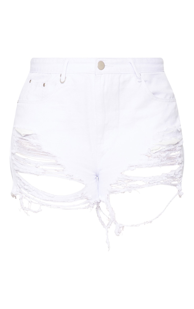 Plus  White Extreme Ripped Mom Denim Shorts  3