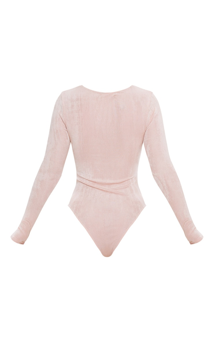 Pink Acetate Slinky Scoop Neck Long Sleeve Bodysuit 4