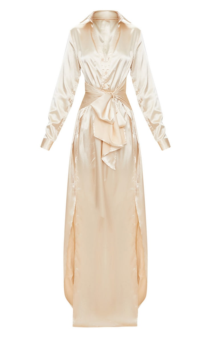 Champagne Satin Extreme Split Waist Tie Shirt Maxi Dress  3