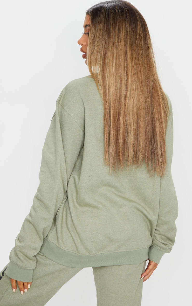 PRETTYLITTLETHING Sage Green Slogan Oversized Sweater 2