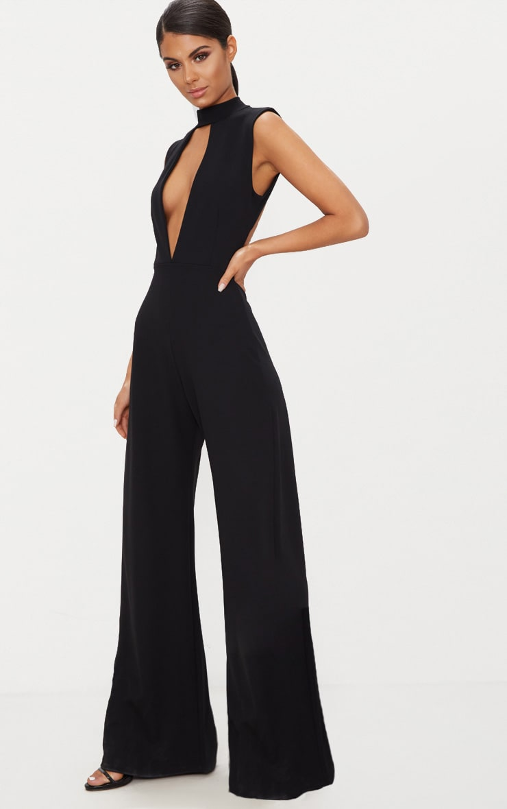 Black Crepe Sleeveless Keyhole Wide Leg Jumpsuit 4