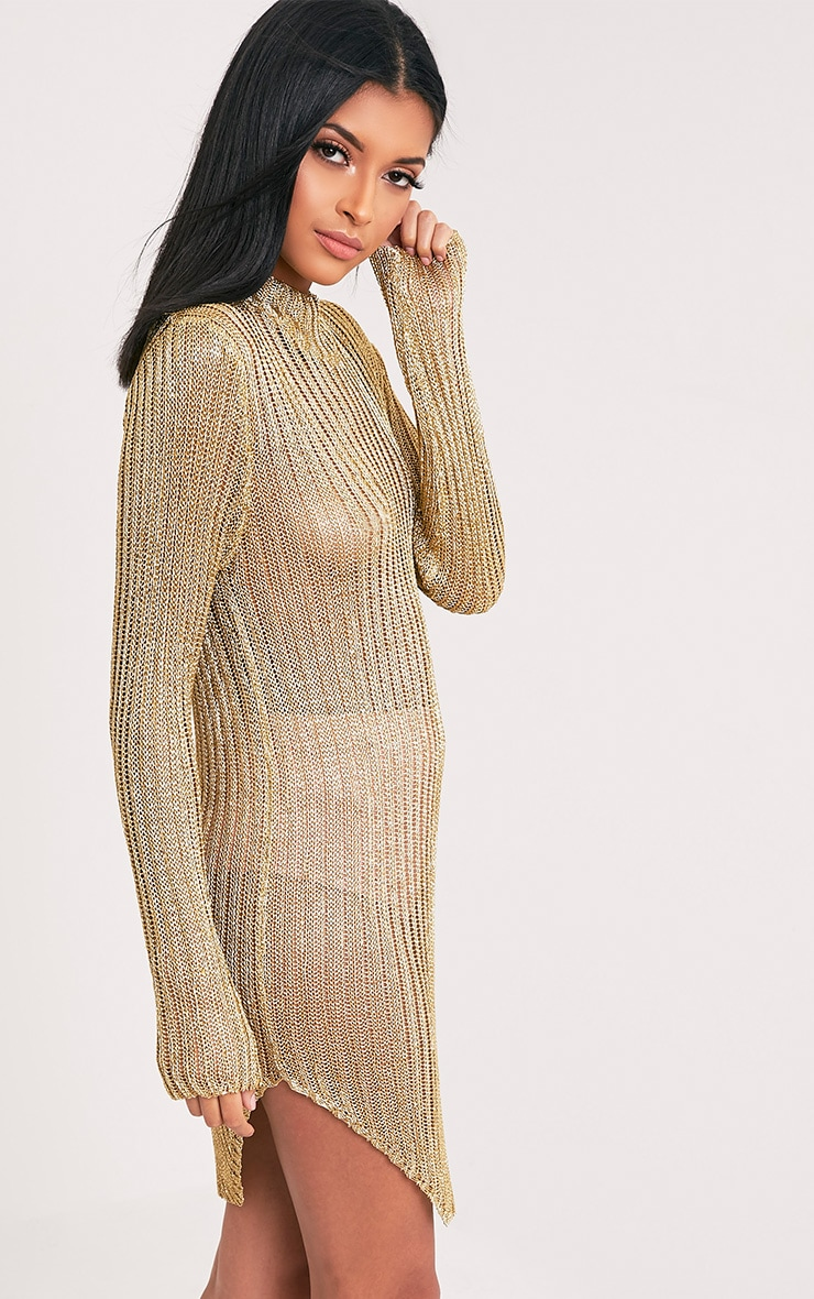 Haisley Metallic Gold Knitted Curved Hem Sheer High Neck Jumper 1