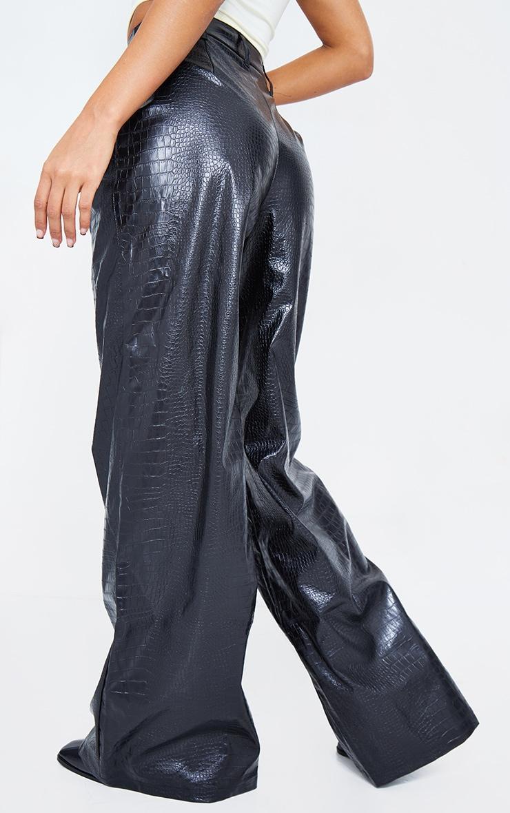 Black Croc Faux Leather Wide Leg Pant 4