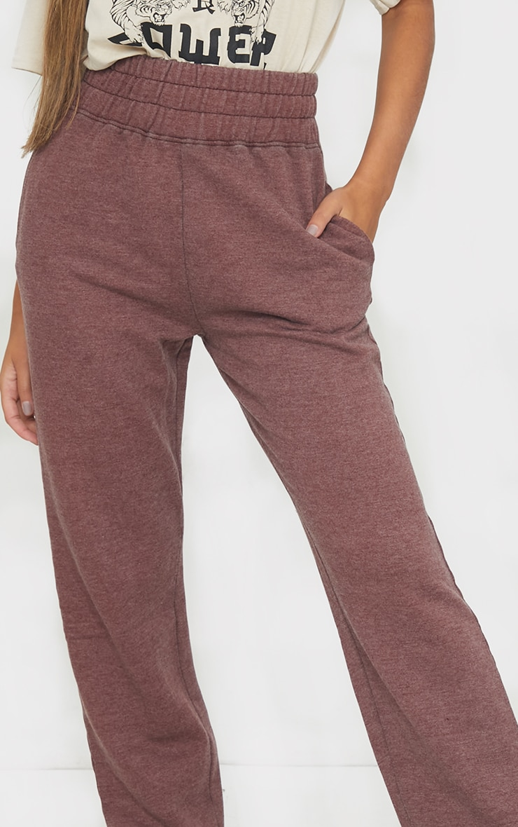 Brown High Waisted Washed Straight Leg Joggers 4