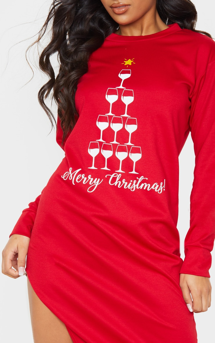 Red Merry Christmas Midi Jumper Dress 5
