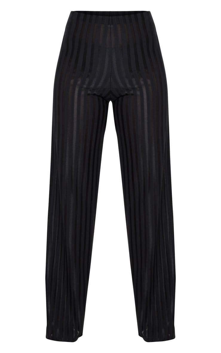 Petite Black Satin Stripe Wide Leg Pants 3