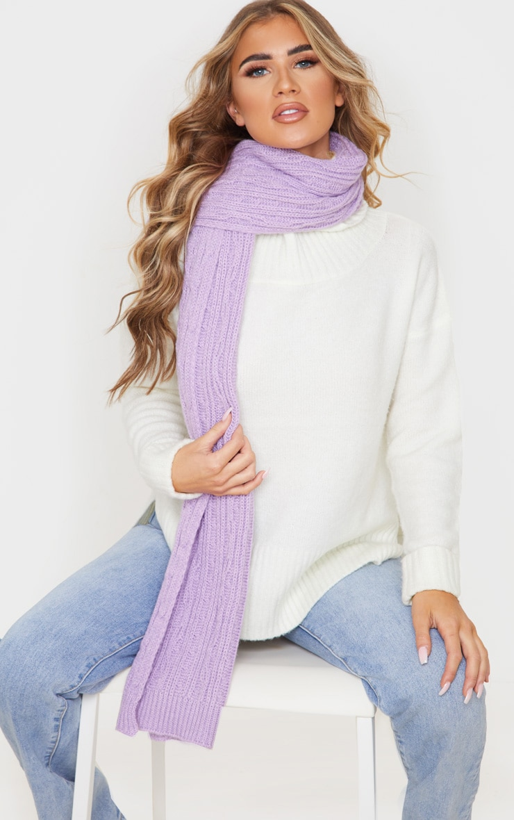 Lilac Cable Knit Scarf 1