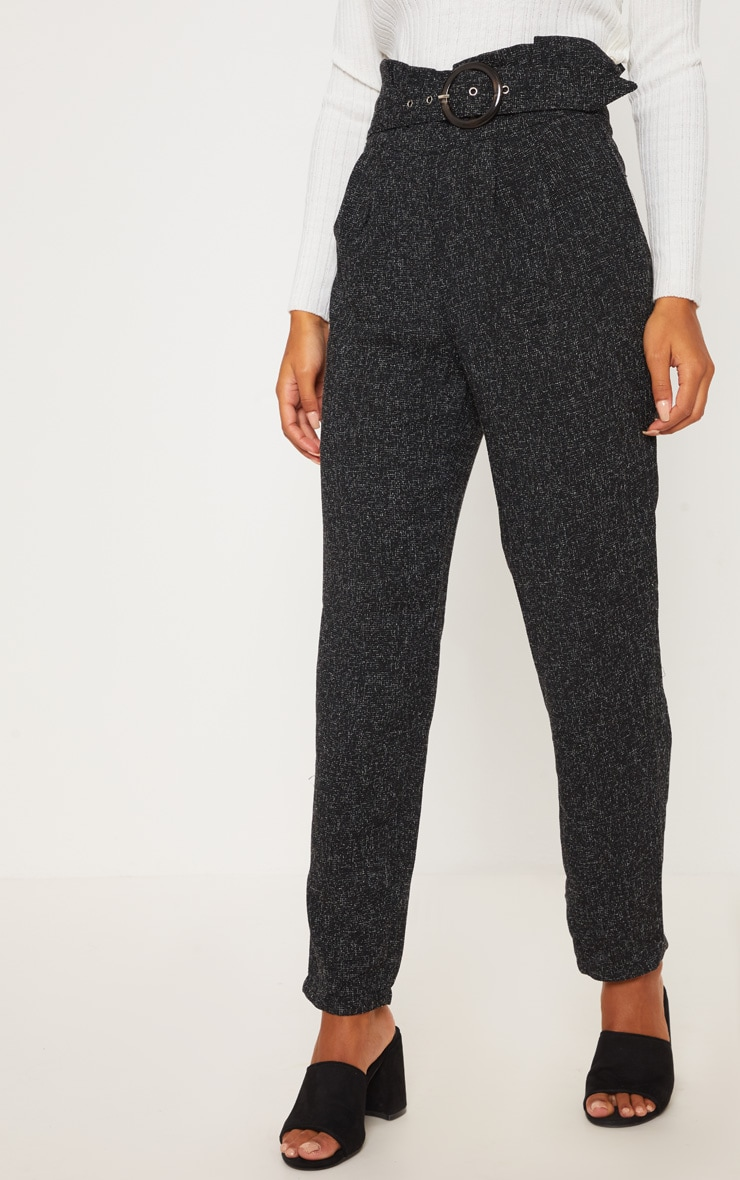 Black Belted Tweed Cigarette Trouser 2