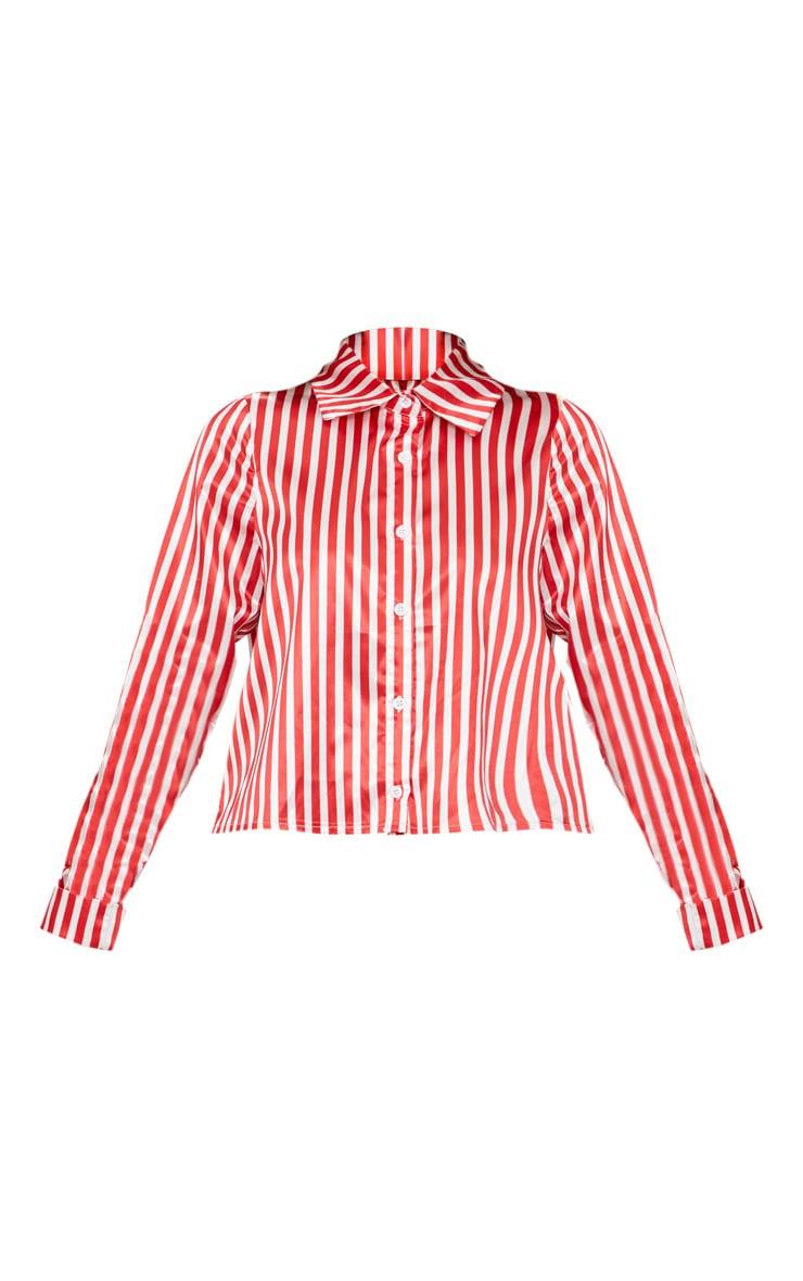 Petite Red Satin Stripe Cropped Shirt 3