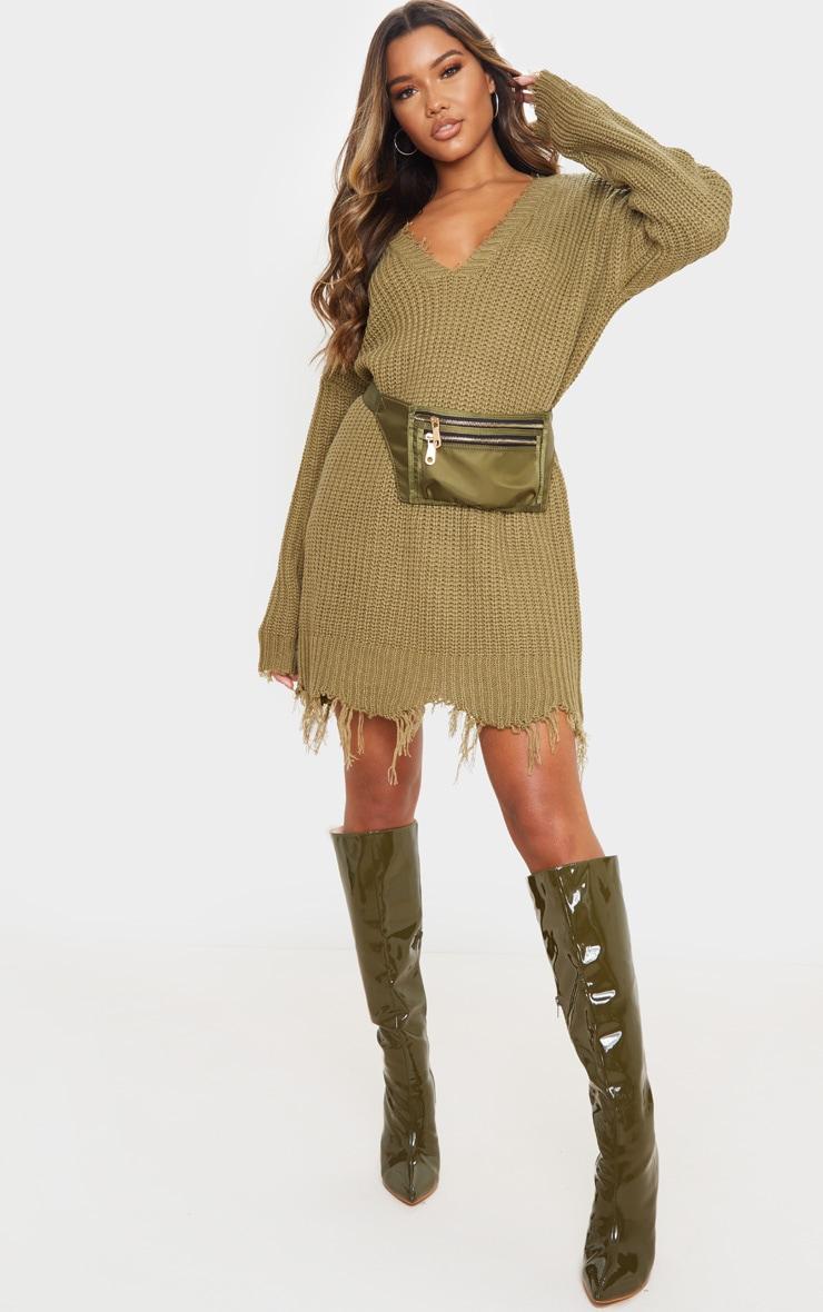 Khaki Fringe Hem Knitted Jumper Dress 1