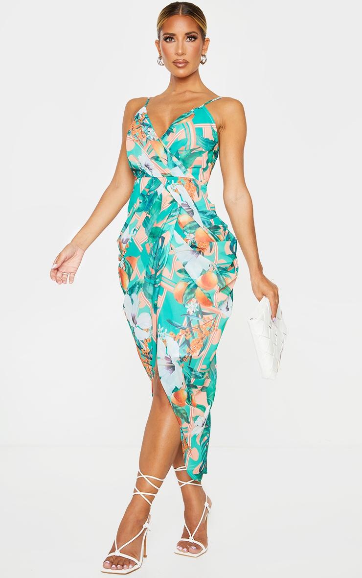 Peach Fruit Print Chiffon Strappy Draped Midi Dress 3