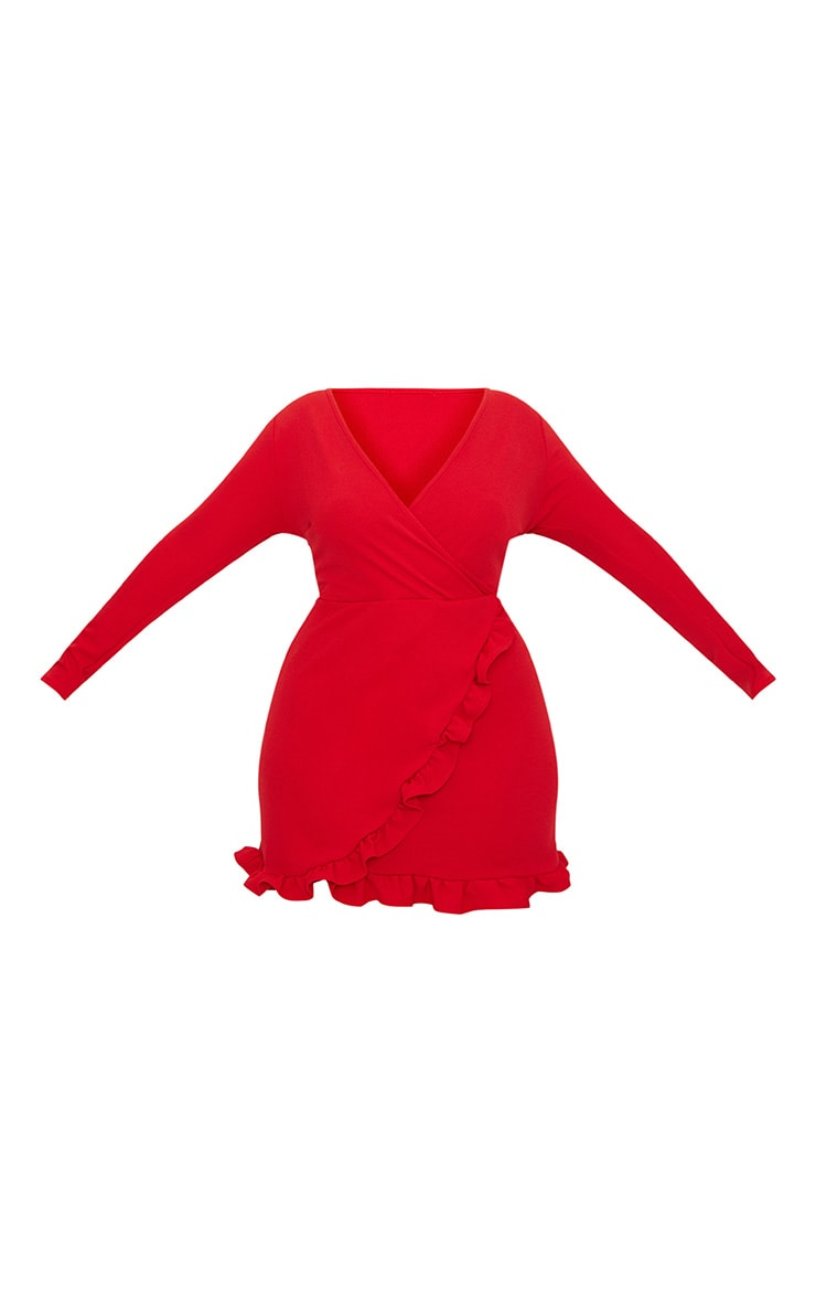 Plus Red Ruffle Detail Wrap Dress 4