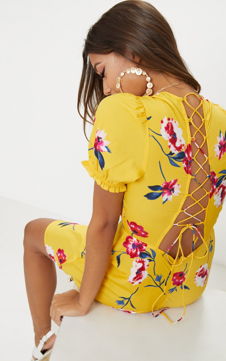 Yellow Floral Lace Up Back Tea Dress 4