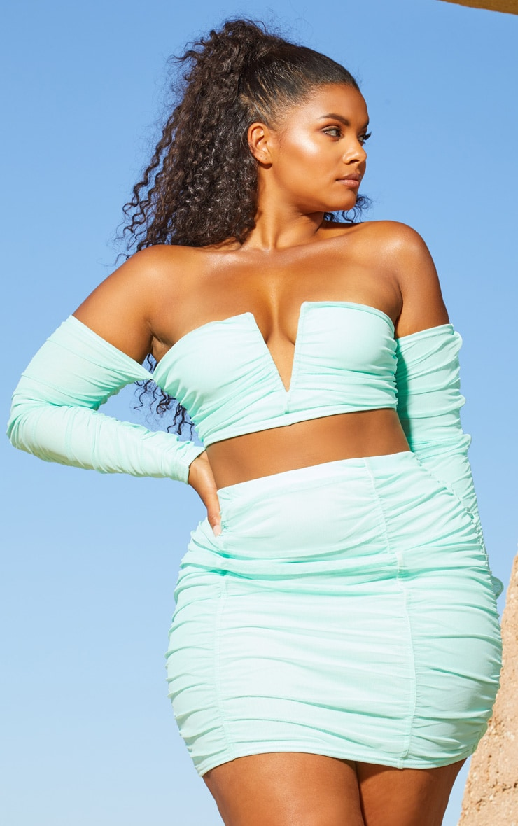 Plus Aqua Second Skin Ruched Mesh Bodycon Skirt 5