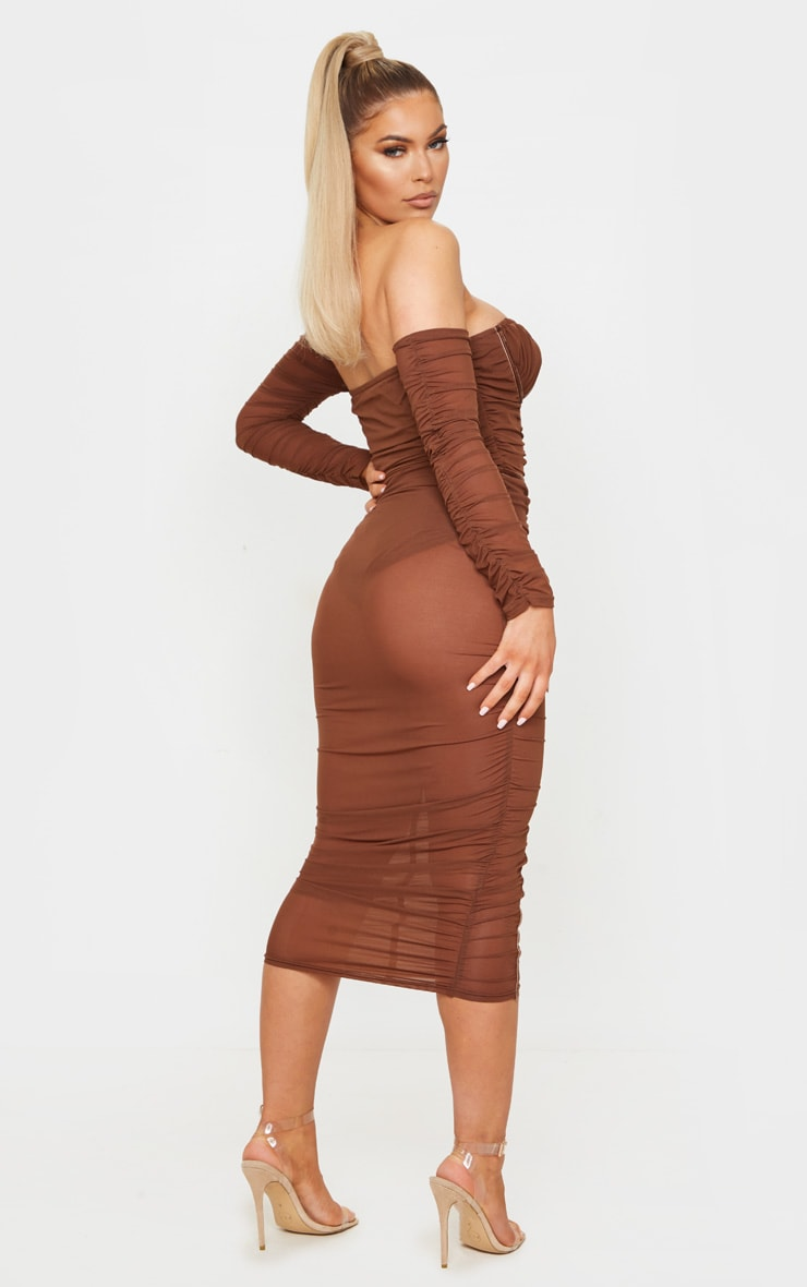Chocolate Mesh Ruched Velvet Binded Bardot Midi Dress 2