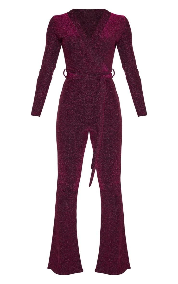 Hot Pink Glitter Wrap Front Flared Leg Jumpsuit 3