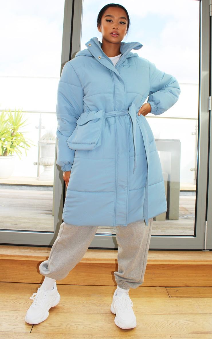 Petite Steel Blue Nylon Bum Bag Hooded Panel Midi Puffer Jacket 1