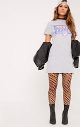 3f2399e6 Petite Pearl Grey Broncos Slogan T Shirt Dress | PrettyLittleThing USA