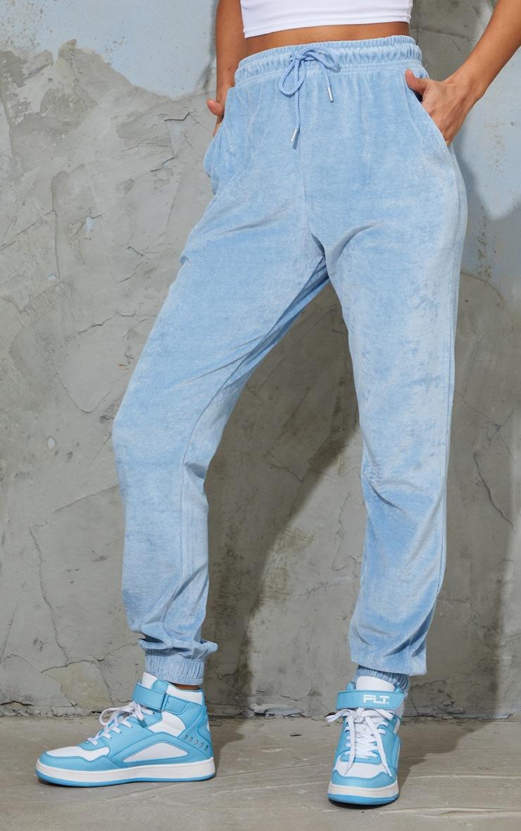 Jogging casual en velours bleu cendré à poches 2