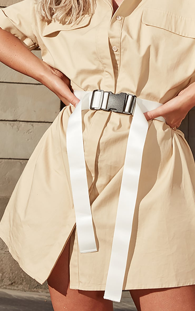 White Buckle Double Tape Belt  1