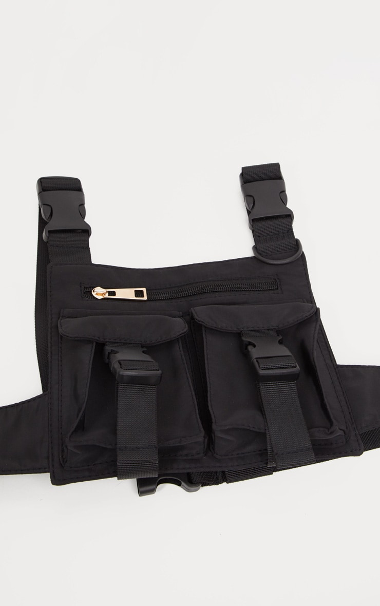 Black Nylon Double Pocket Front Harness Bag 3