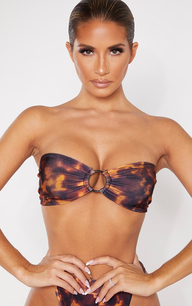 Brown Tortoise Print Ring Centre Bandeau Bikini Top 5