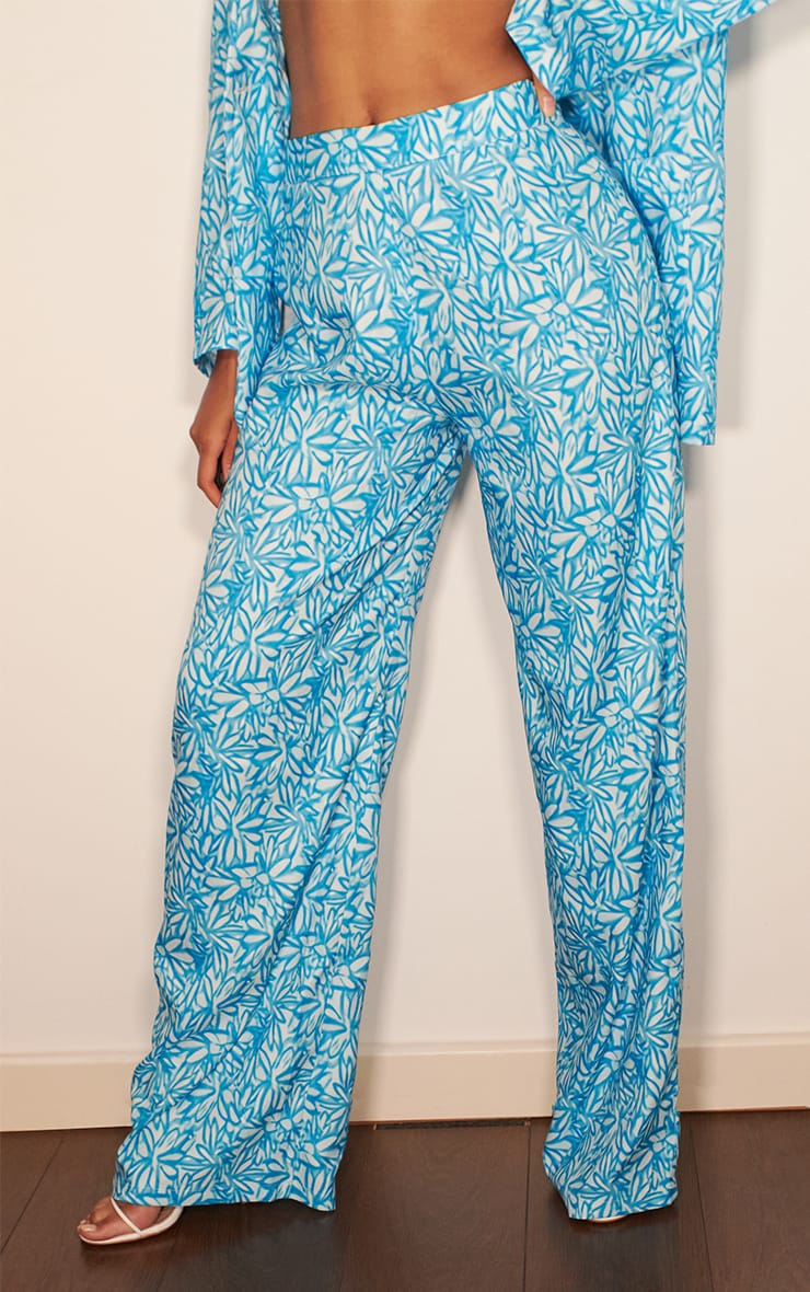 Blue Floral Print Wide Leg Pants 2