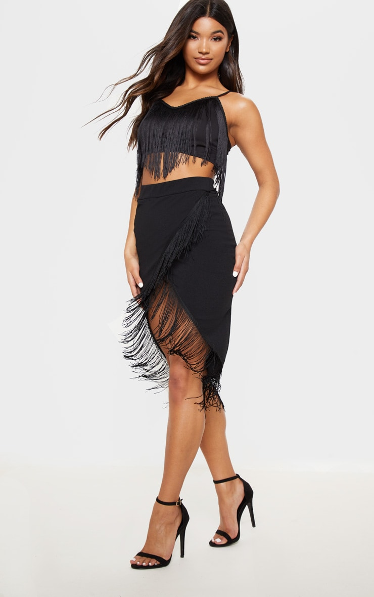 Black Tassel Trim Crop Top  4