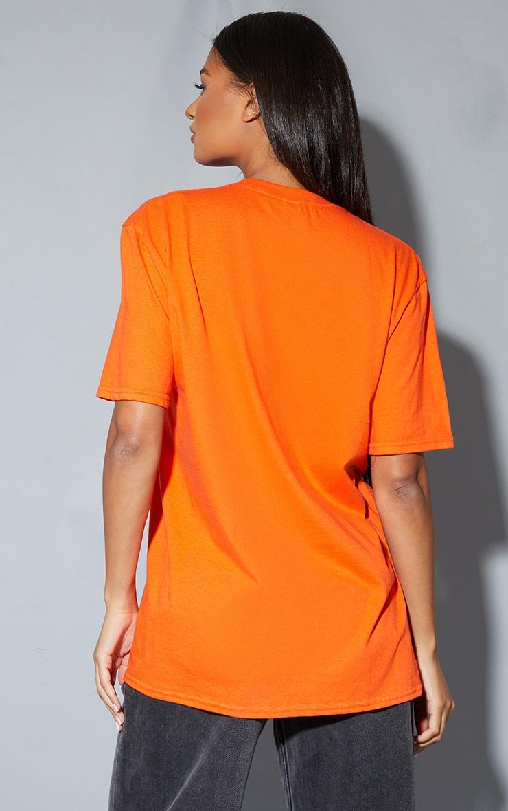 Orange Biggie Print Oversized T Shirt 2