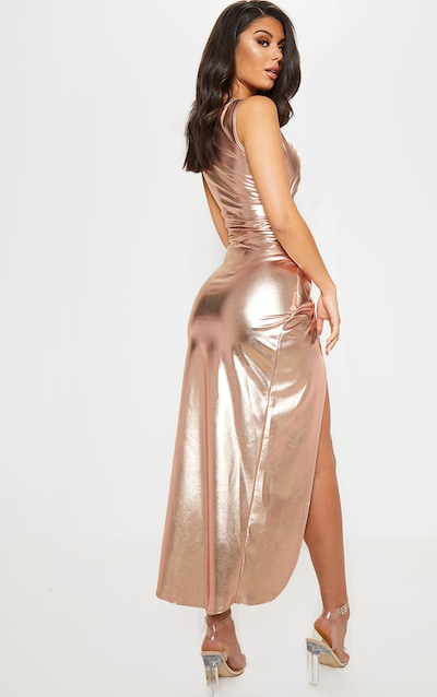 Rose Gold Cut Out Knot Detail Midi Dress