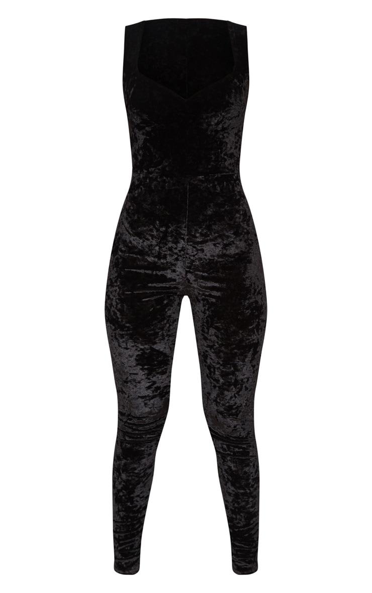Black Crushed Velvet Sweetheart Neckline Jumpsuit 3
