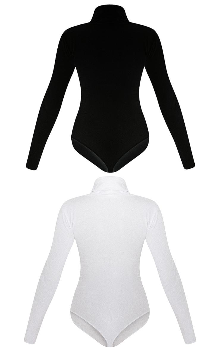 Essential Black & White Cotton Blend Roll Neck Bodysuit 2 Pack 6