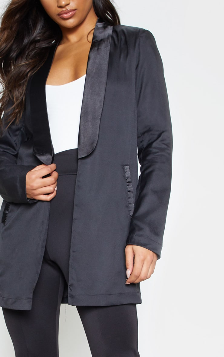 Black Satin Lapel Longline Blazer 6