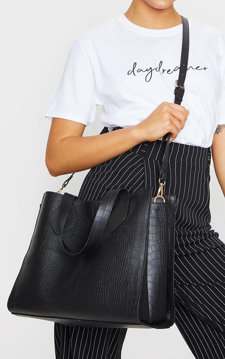 Black PU Croc Tote Bag 1