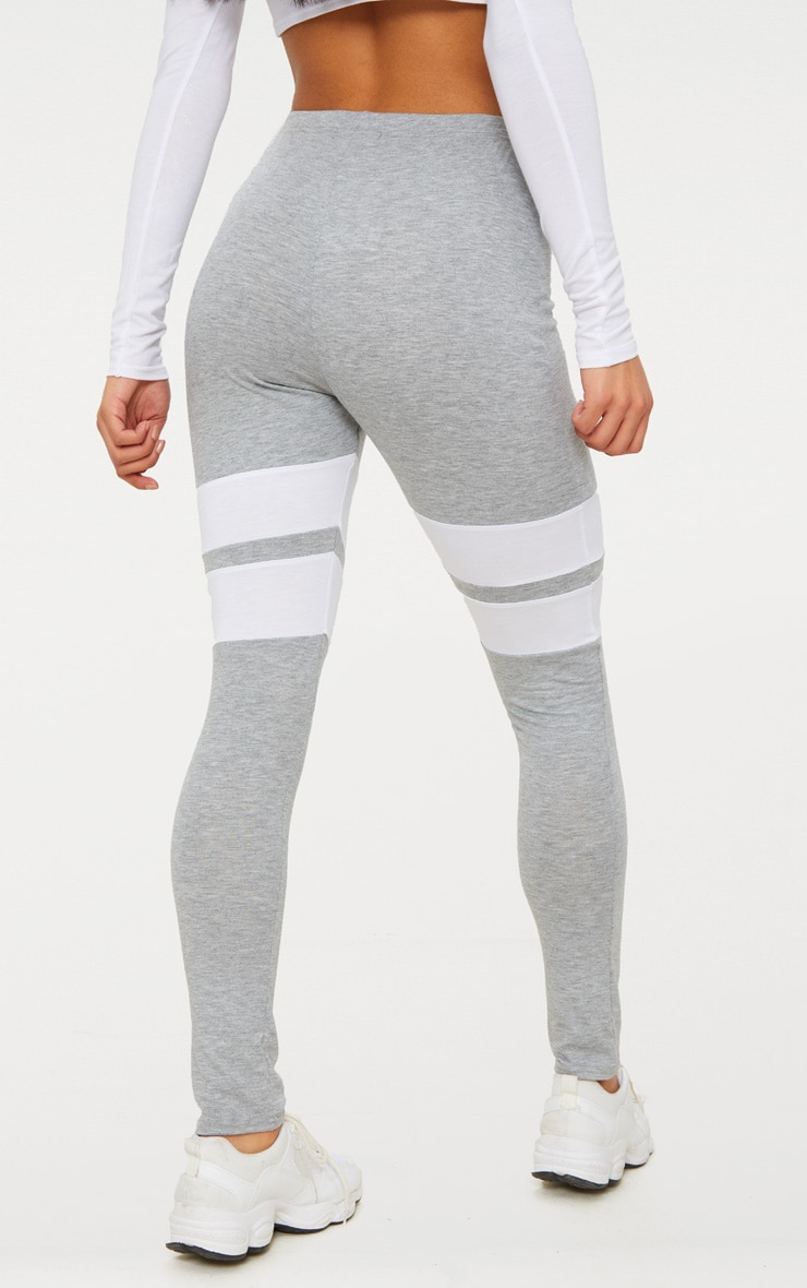 Grey Marl Double Track Stripe Legging  4