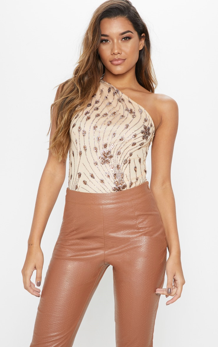 Body sequins rose gold à manche unique