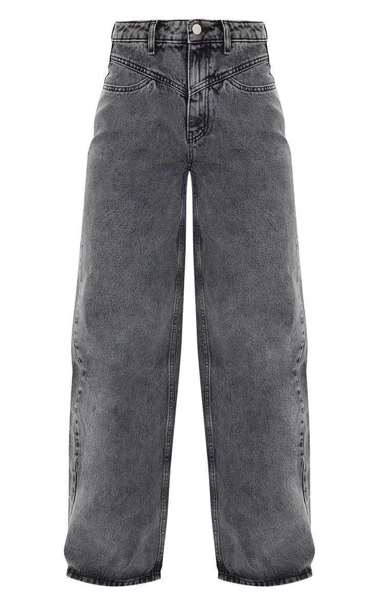 Grey Acid Seam Detail Wide Leg Jeans 5