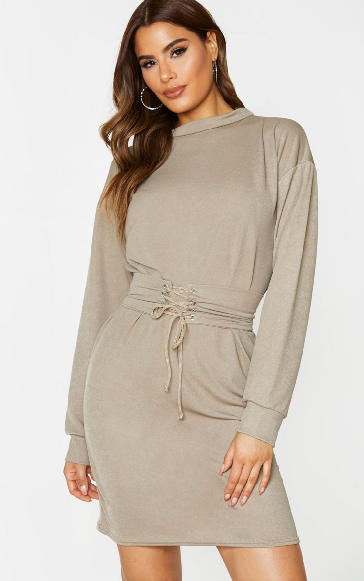 Tall Stone Corset Detail Crepe Oversized Sweater Dress 1