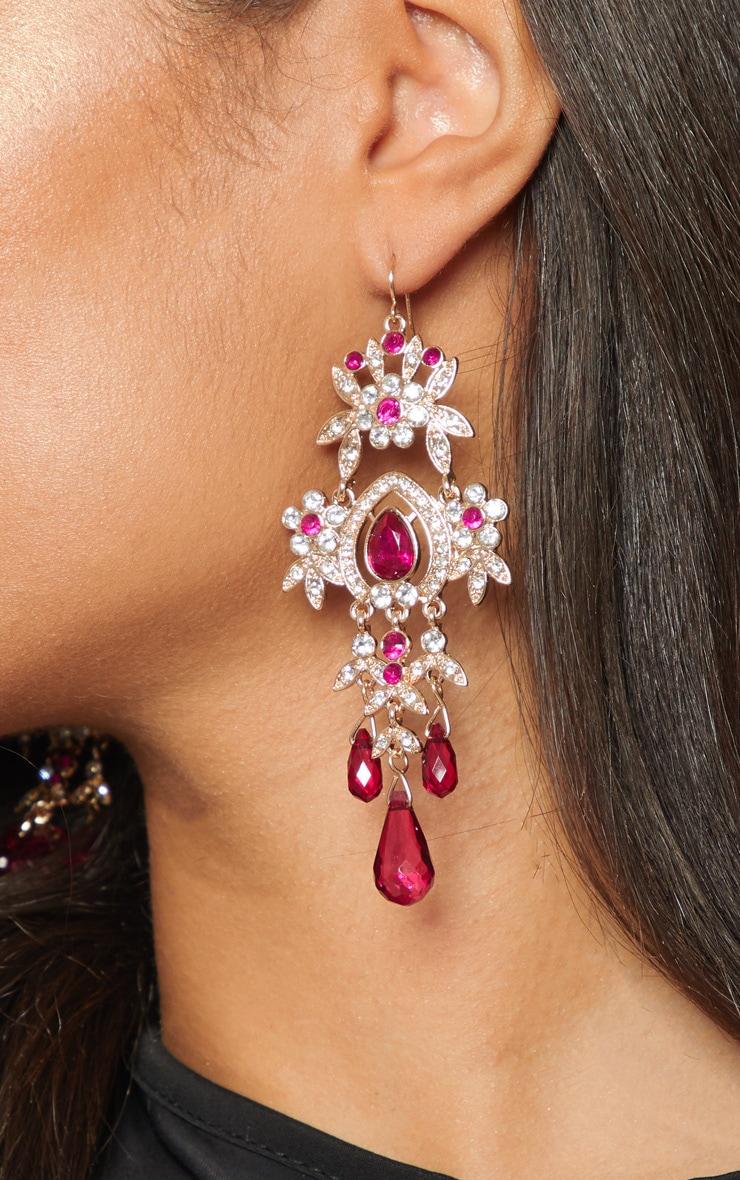 Fuchsia Diamante Jewel Drop Earrings 2