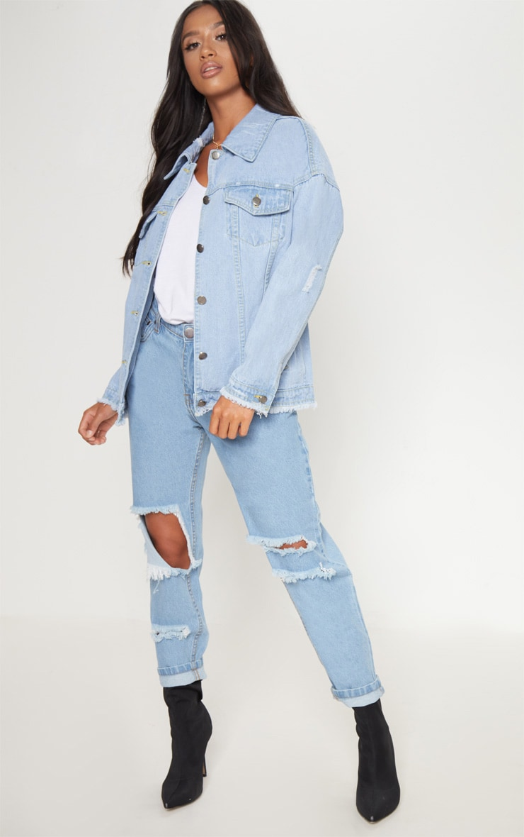 Petite Light Wash Distressed Oversized Denim Jacket 4