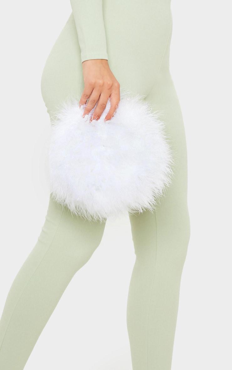 White Marabou Feather Cross Body Bag 2
