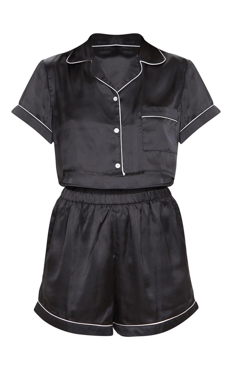 Black Cropped Satin PJ Shorts Set 3