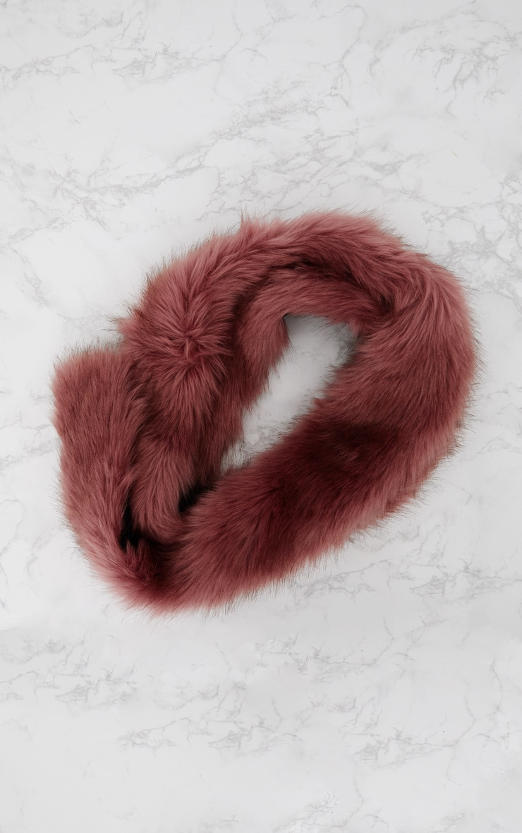 Pink Faux Fur Extra Long Scarf 4