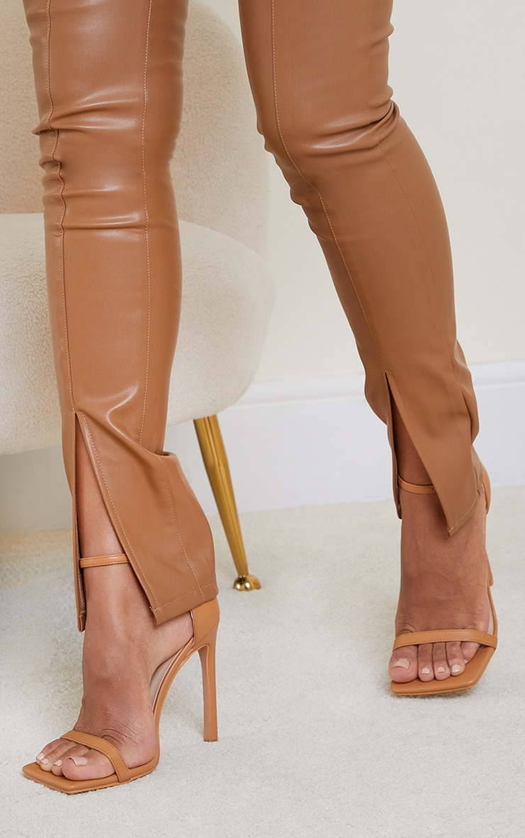 Tan Clover Barely There Strappy Squared Toe Heeled Sandals 2