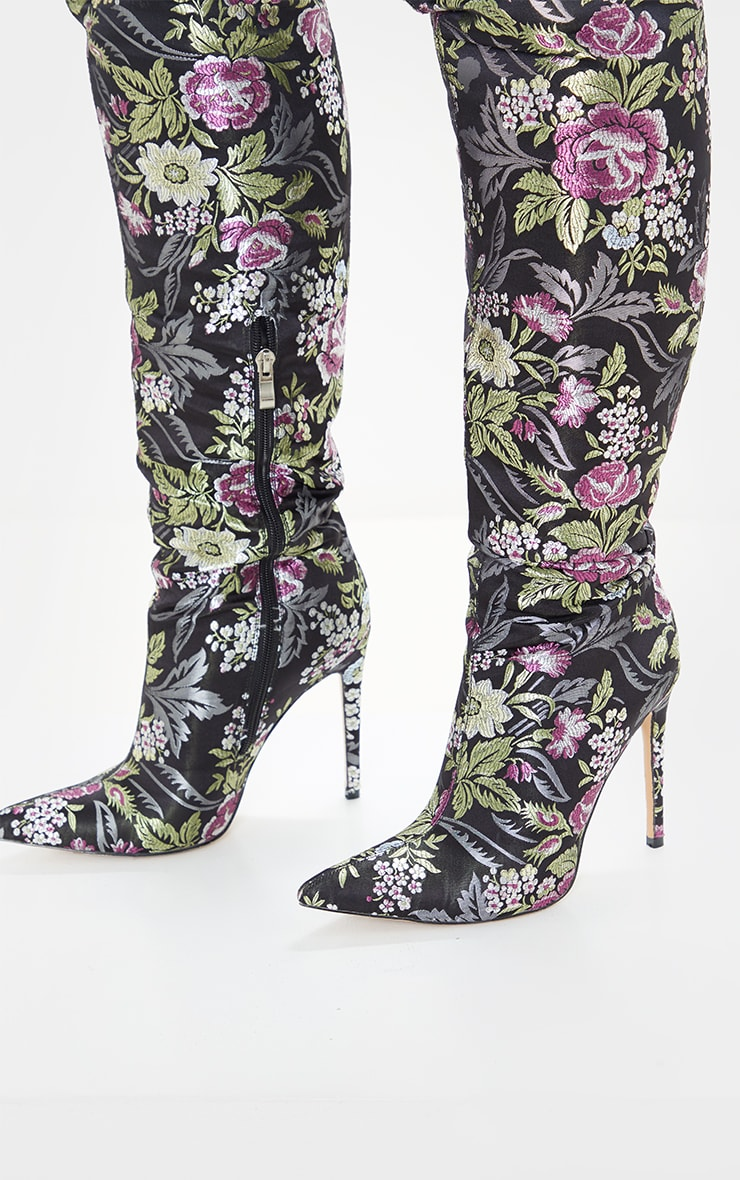 Black Floral Oriental Thigh High Boot 6