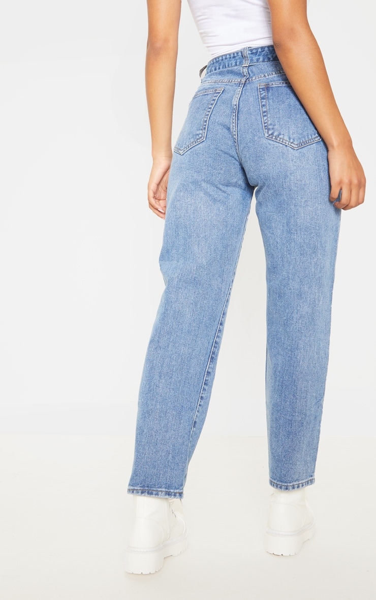 Mid Wash Double Buckle Straight Leg Jean 4